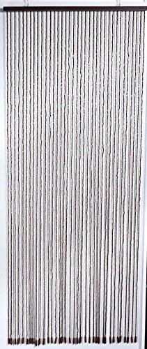 Hussen-discount tenda decorativa per porta con perline di legno fili regolabili 90x220cm marrone castagna
