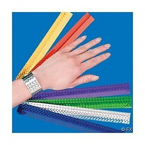 Fun Express 12 Diamond Metallic Slap Bracelets (2-Pack)