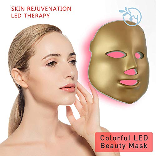BIXINYAAN 7 Farben LED Beauty Lichttherapie Gesichtsmaske,Photonen Therapie Maske, zur Behandlung von Akne, Flecken, Mitesser, Hautunreinheiten,Usregulations -