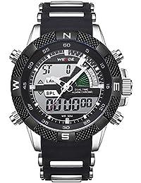 Montre pour homme, imperméable, montres Bande silicone Calendrier chronographe numérique LED montre à quartz, multifonctions Sport décontracté montres pour homme
