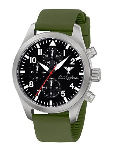Airleader Steel Chronograph KHS Airsc So Stainless Steel and Silicone Strap Olive, Khs Tactical Watch, Wrist Watch, Aviator Watch