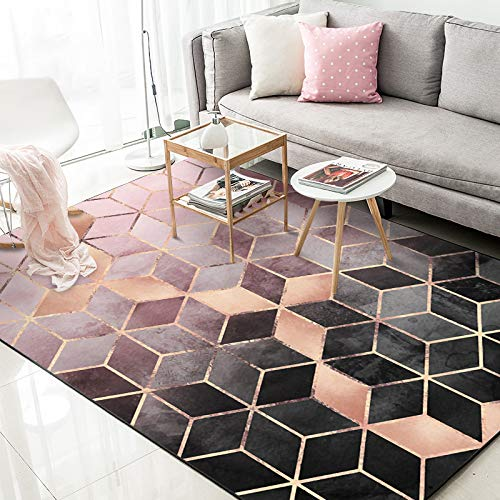 Teppich Mode Kreative Kunst Europäischen Rose Gold Und Rosa Farbverlauf Diamant Plaid Schlafzimmer Tür Wohnzimmer Küche Matte 120 cm X 200 cm
