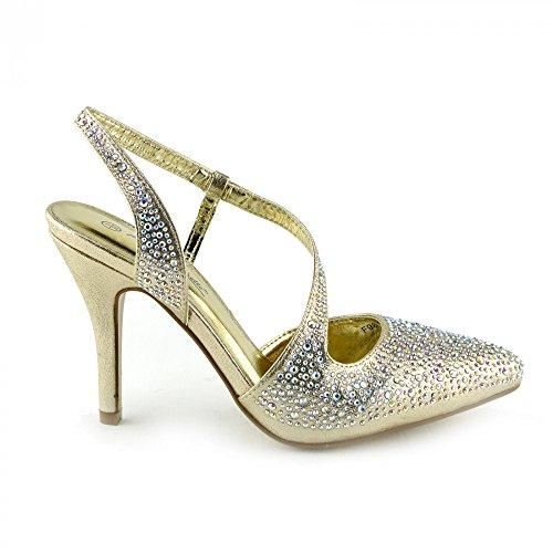 Kick Footwear - Donna diamante tacco sandali damigella d'onore da sposa prom slingback scarpe Oro