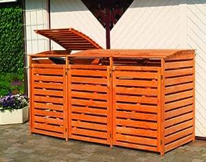 Mülltonnenbox für drei 240 Liter Tonnen, Farbe Honigbraun