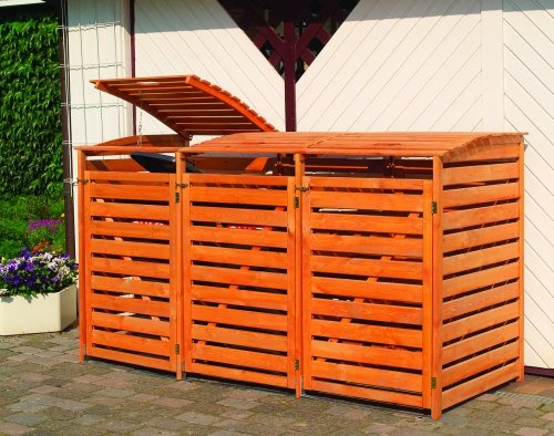 *Mülltonnenbox für drei 240 Liter Tonnen, Farbe Honigbraun*