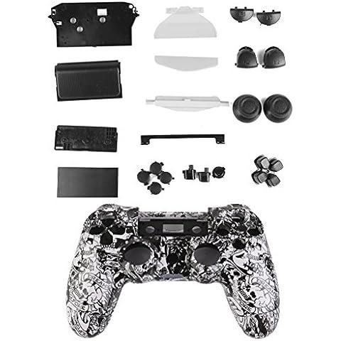 Cover Caso Regolatore Custodia con Pulsanti Completi Kit Per Playstation4 Bianco PS4 - Cranio Modello
