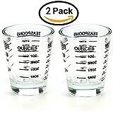 Schnapsgläser Messbecher Liquid schwerem Glas Wein Glas Espresso Shot Glas 26-incremental Messung 1Oz 4Funktionen 45ml - 2 Pack-black