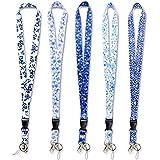Nek cordones ,correa de cuello/cuerdas con anillo metálico para titular de placas de la tarjeta de identificación,llaves, llaveros ,celulares, cámaras, USB - 5 colores ,5piezas