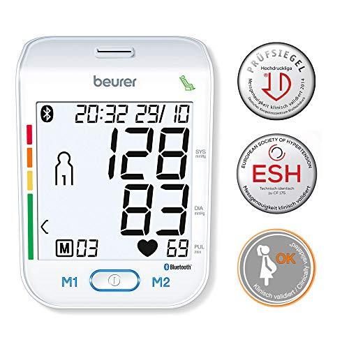 Beurer BM 77 Bluetooth Oberarm-Blutdruckmessgerät, mit patentiertem Ruheindikator, auch für Schwangere geeignet