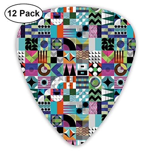 Guitar Picks12pcs Plectrum (0.46mm-0.96mm), Mix Of Various Different Geometric Shapes In Squares Funky Sixties Revival,For Your Guitar or Ukulele