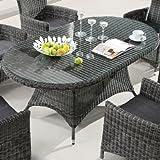 Destiny Santos Tisch Oval 180 x 100 cm Polyrattan Gartentisch Geflechttisch Esstisch Grau