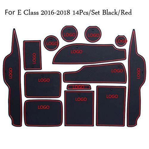 PRENKIN 14pcs / Set Tür Grooves Pad-Becherhalter-Anti-Rutsch-Matten-Auto-Dekor-Wiedereinbau für Mercedes E-Klasse E260 / E200 / E320 / E180 -