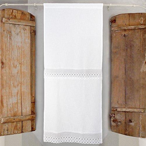 Visillo para Ventana, Cortina Corta de Ventana Romántico Rústico Shabby Chic - Encaje Macrame - 60x150 - Blanco - 100% Poliéster