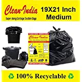 Clean India® Garbage Bags| Medium:19X21 | 4 Packs of 30 Pcs-120 Pcs | 100% Recyclable Garbage Dustbin Bags