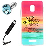 Lusee® Funda de silicona para Alcatel Pop Star 3G OT5022 5022X Suave Cascara TPU Color Never stop dreaming