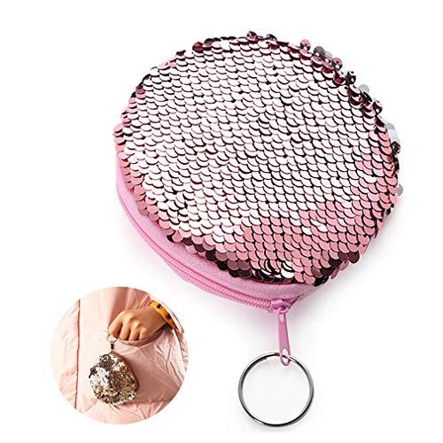 Purse Pailletten Mit Schlüsselring Ring Kleiner Runder Münzen-Beutel-Nixe Mit Rundum-Reißverschluss Mini-Mappen-Beutel-Kasten Mit Schlüsselkette Für Frauen Mädchen