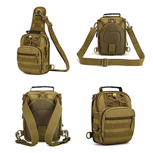 Freedom-vp Damen Herren Military Tactical Umhängetasche Brusttasche Rucksack mit einem Gurt Sling Bags einseitige Rucksack Crossbag Uni Rucksack für Radfahren Wandern Camping Freizeit Tasche Braun