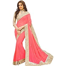 Shree Mira Impex Women's Georgette Sarees With Blouse Material Sari (Free Size)