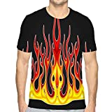 Unisex Summer Graphic Print Tshirt Blazing Fire Decals Hood Car Hot Rod Racing Flames Vinyl Ready Tribal Flames Vehicle Motorbike Stickers