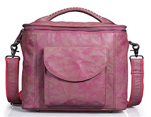Xinmaoyuan Borse donna in pelle capacità grande unica borsa a tracolla vacchetta retrò due donne di colore tipo valigia Square Bag,viola Viola