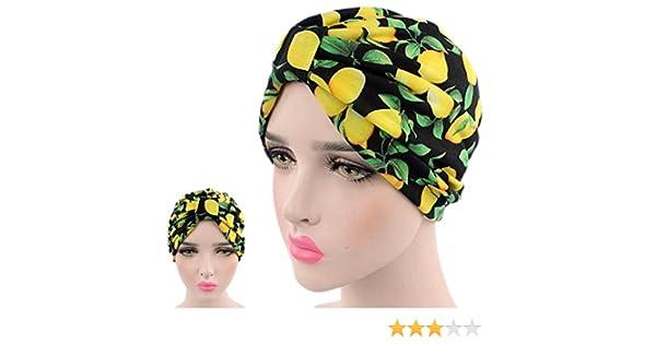 1ca4755bba Limone colori bandane Donne musulmano Turbante elastico Copricapo Signora  Chemo Avvolgere i capelli Beanie Copricapo Hijib Fascia per capelli Anche  per il ...