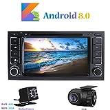 Android 8.0 Autoradio, Hi-azul In-Dash 2 Din Car Radio 8-Core 64Bit RAM 4G ROM 32G Car Audio Récepteur de Radio de Voiture 7 Pouces Stéréo Voiture avec 1280*600 Écran Tactile et Lecteur DVD pour Volkswagen TOUAREG/ T5 Multivan/ Transporter Soutien Contrôle du Volant, RDS, WiFi, Bluetooth, Mirror-Link (avec Caméra de Recul et DVR)