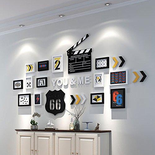 Photo Wall ZI LING SHOP- Kreative Home Schlafzimmer Brief Foto Wand Bilderrahmen Dekorative Malerei Clip Direktor Karte Wand (Farbe : Schwarz+Weiss) (Schwarzer Rahmen Direktoren)