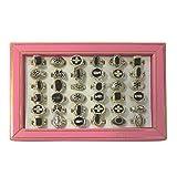 Pack 36 anillos plateados pintados en negro variados joya accesorio