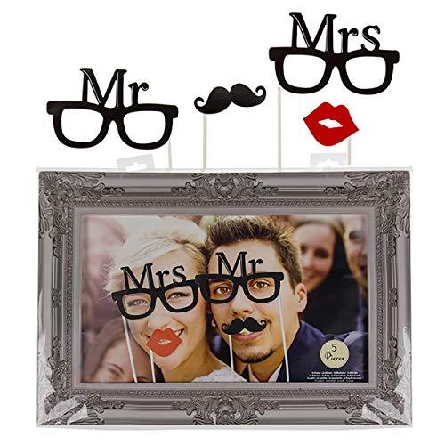 ''Mr. & Mrs.'' Party-Foto-Verkleidung auf Stick mit Rahmen | Party Zubehör | Fotobox Requisiten | Fotoaccessoire Party | Foto Verkleidung Party | Geburtstagsparty Set | Fotoaccessoire | Preis am Stiel
