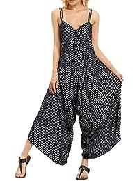 �� Amlaiworld Monos largos mujer Elegantes verano Monos Mujer Fiesta Monos muje Clubwear Strappy Striped Playsuit Vendaje Blusas Mujer Tallas Grandes Pantalones anchos Jumpsuit S- XXXXXL (Negro, 3XL)
