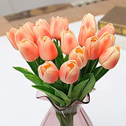 SODIAL Ramo Artificial de 31 Piezas de Flores Artificiales de TulipáN Flor de Contacto Real para la Familia DecoracióN de la Boda Flor