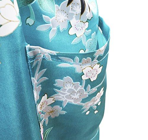 HonourSport-Kimono Japonais en Satin faux Sexy Robe de Chambre-Femme Bleu