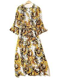 c10cdef91b2e YYD  Robes de femmes Mulberry soie col V Sunflower impression Tunique  quotidienne Casual Dress