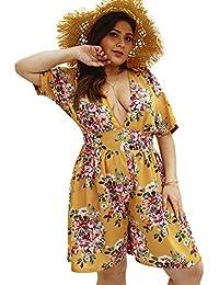 ca2bc8ebcea Lover-Beauty Mujer Mono Corto Verano Sexy Floral Print Talla Grande Tirante  Escote-V