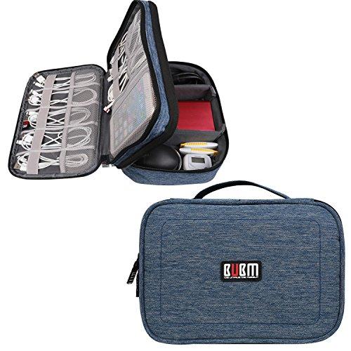 BUBM Doppi strati Gadget Organizzatore di Viaggi Case, Elettronica Accessori Bag(Medio, Denim Blue)