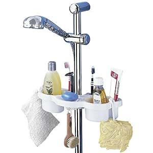 Wenko 7038100 mensola per asta doccia 2 recipienti porta saponetta 2 ganci in plastica - Accessori bagno plexiglass amazon ...
