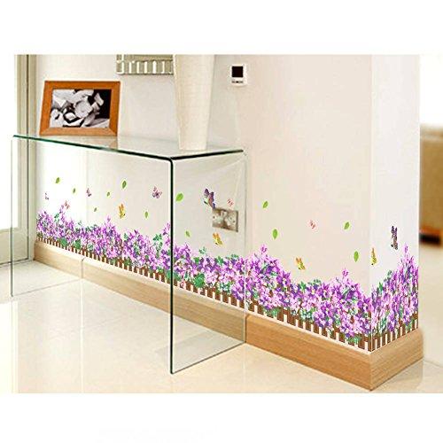 Garden Flower-serie (BIBITIME Entlang Line Serie Abnehmbarer Wasserdicht Wandtattoo Antik Reference Garden Fence Purple Flower Butterfly)