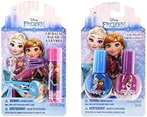 Disney Frozen Beauty Bundles For Kids - 2 Items : Disney Frozen Nail Polish - Two Pack, Disney Frozen Lip Balm - Single Pack
