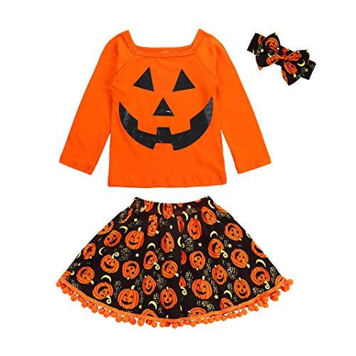 sunnymi 3 tlg Tops + Rock + Stirnbänder Baby Mädchen  Halloween Kostüm  Winter Lange Ärmel Kleidung Set Für 1-6 Jahre Alt (4-5 Jahre, Orange)