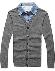 Capas de camiseta collar dos suéteres suéter de los hombres ropa de hombres suéter,L