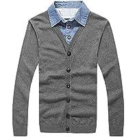 RIVI Capas de Camiseta Collar Dos suéteres suéter de los Hombres Ropa de Hombres suéter,L