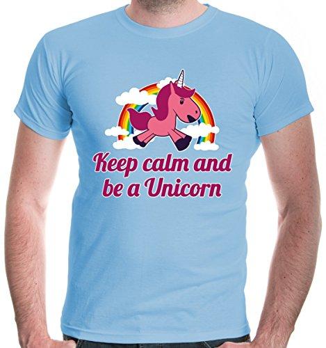 buXsbaum Herren T-Shirt Keep calm and be a Unicorn | Einhorn Regenbogen Bunt Fantasie Fabelwesen | M, Blau