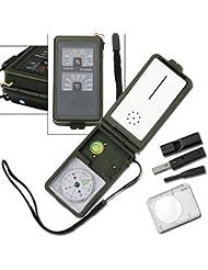 Multifunktions-Survival Outdoor Kompass Tool Kit mit Fire Starter + Pfeife + Thermometer + Hygrometer und mehr.