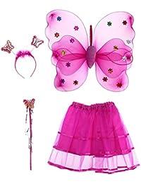 Tinksky 4pcs Winkel Mädchen Fee Kostüme mit Flügel Stirnband Wand Tutu Rock Set
