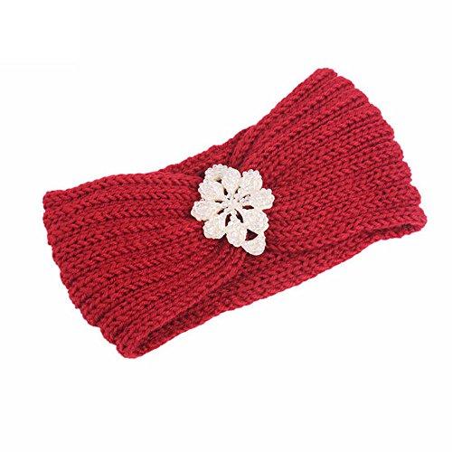 BZLine® Frauen stricken Strick Stirnband Winter Warm Haarband Wrap Pink (Rot # 4) -