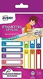 30 Étiquettes Autocollantes Résistantes pour Marquer les Stylos, Crayons, Feutres, Design Smiley