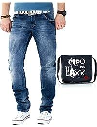 Cipo & Baxx Herren Jeans inkl. Cipo & Baxx Umhängetasche
