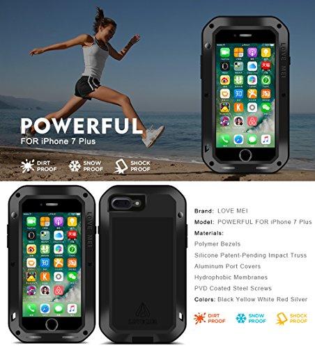 Aluminium Schutzhülle für Apple iPhone 7Plus iPhone 7+ (14cm), Marke Love Mei [gerade Stil] Wasserdicht, stoßfest Silikon Hybrid Metall mit Tempered Glas Displayschutzfolie * 2Jahre Garantie * silber