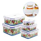 Nuobk Lebensmittel Lagerbehälter, 5-teiliges Frischhaltedosen Set mit Deckel Geeignet,Stapelbar Plastikboxen Vorratsdosen für Mikrowelle, Gefrierschrank und Spülmaschine