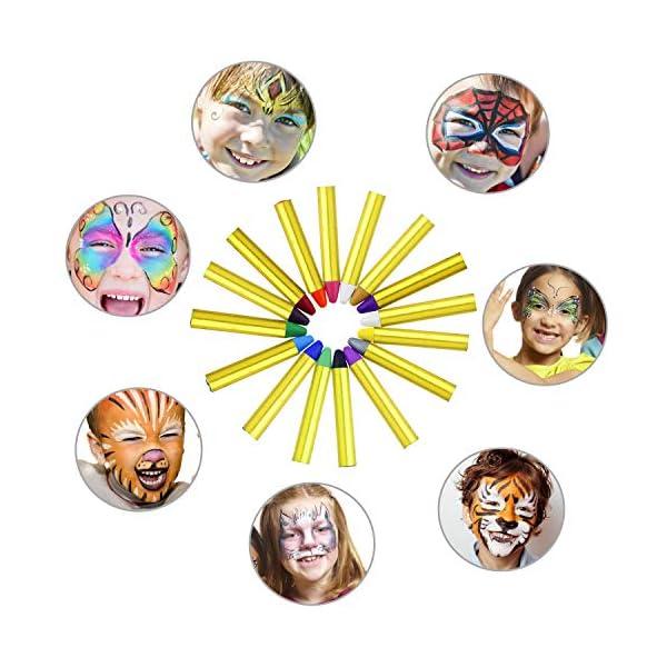 Emooqi Colori per Viso Bambini, Trucchi per Truccabimbi 16 Colori Face Painting Body Painting Kit per Bambini Set Colori… 3 spesavip